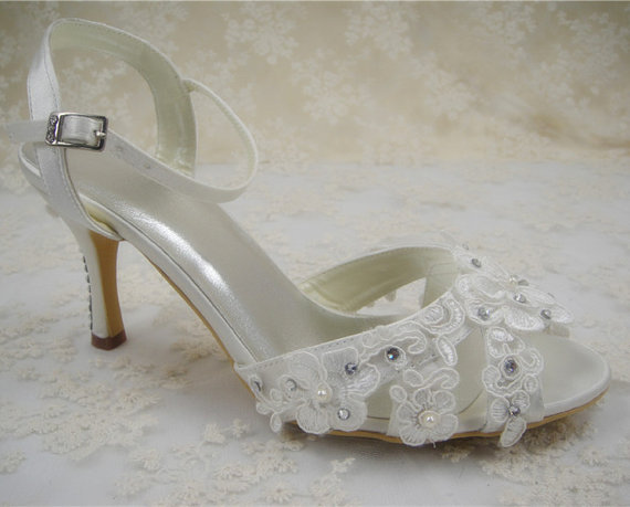 Wedding Shoes Peeptoes Bridal Crystal Diamante Sandals Prom Evening Lace