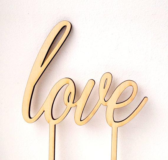 زفاف - Wedding cake topper, wooden LOVE cake topper, simple rustic wood cake decor, Your Choice Of Wood