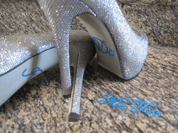 """زفاف - Something Blue """"I Do""""  and """"Me Too"""" Wedding Shoe Stickers."""