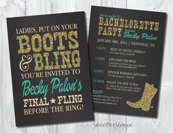 Country Western Bachelorette Party Invitation Boots Bling