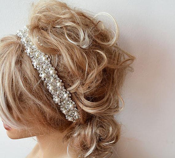 زفاف - Wedding hair Accessory, Bridal Headbands, Pearl Wedding headband, Pearl Hair Accessories, Bridal Hair Accessory, Rhinestone and ivory Pearl