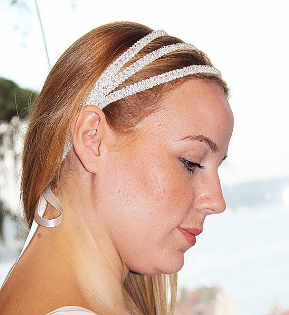 Mariage - Wedding Bridal Rhinestone Headband, Wedding Hair Accessory, Triple Headband, Wedding Hairband, Wedding Headpiece, Accessories, Wedding