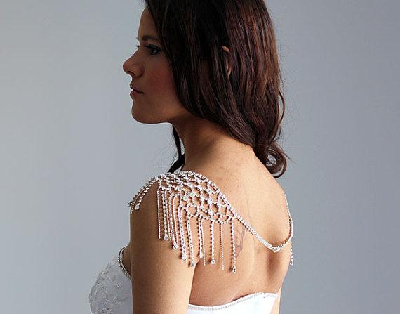 Wedding - Wedding Silver Rhinestone Jewelry, Wedding Dress Shoulder, Wedding Dress Accessory, Bridal Epaulettes, Wedding Accessory, Bridal Accessory
