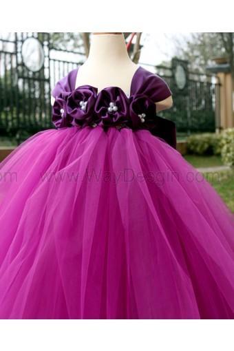 Flower Girl Dress Purple Plum Tutu Baby Toddler Birthday Wedding