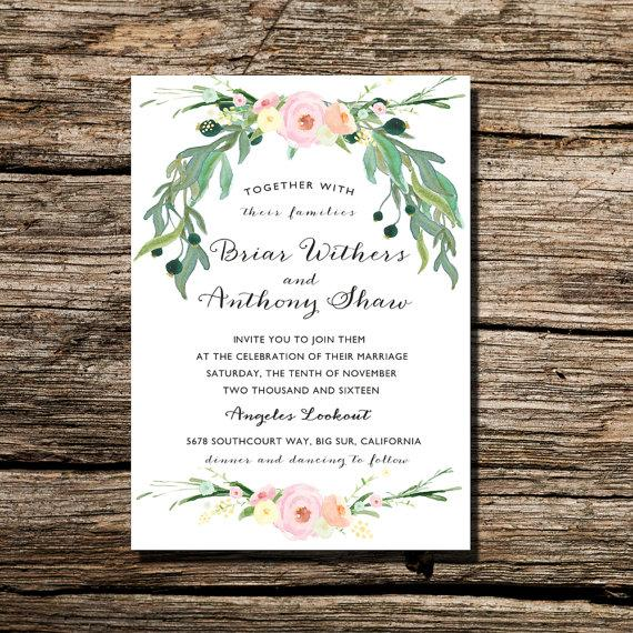 Printable Wedding Invitation Watercolor Floral Wreath Invite DIY