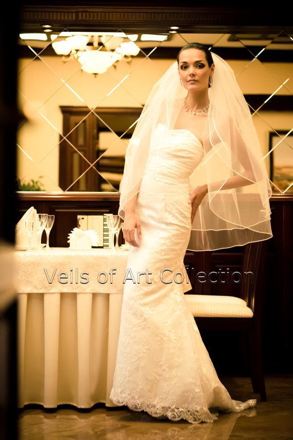 """Свадьба - NWT 2T Fingertip Bridal Wedding Veil 1/8"""" Satin Cord VE204 white ivory NEW"""