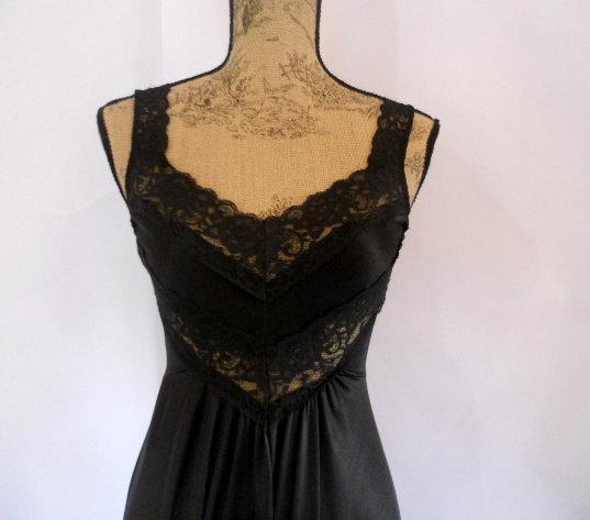زفاف - Vintage Black Lace Nightgown Full Sweep Nightie Negligee Women's Medium SEXY Lingerie Bridal