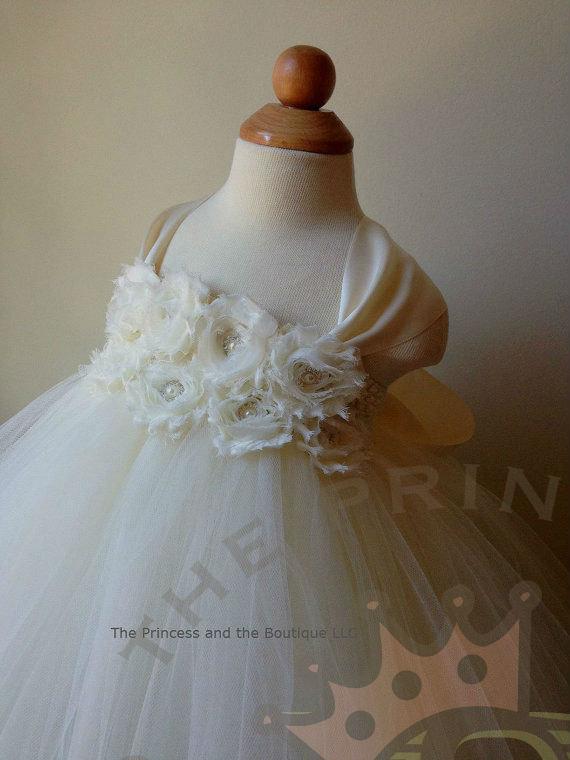 Hochzeit - Ivory flower girl dress with ivory chiffon flowers. www.theprincessandthebou.etsy.com
