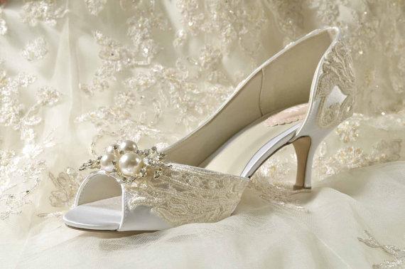 bede21c34118 Wedding Shoes - Vintage Wedding Lace - 2.25