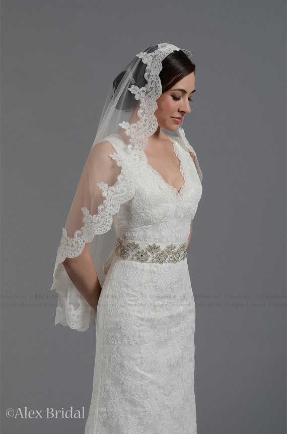 Wedding - wedding bridal lace mantilla veil 45x36 elbow length alencon lace - available in white and ivory