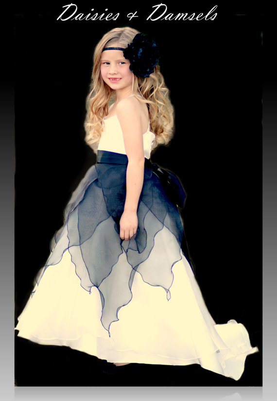 Свадьба - Flower girl dress, black organza overlay, ivory bottom, custom colors