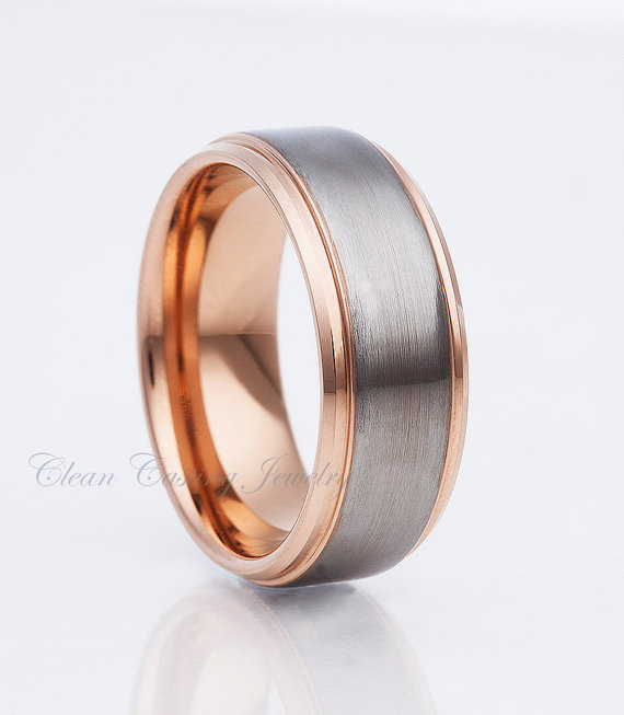 Tungsten And Rose Gold Wedding Bands | Rose Gold Tungsten Wedding Bands Men S Tungsten Band Satin Polish