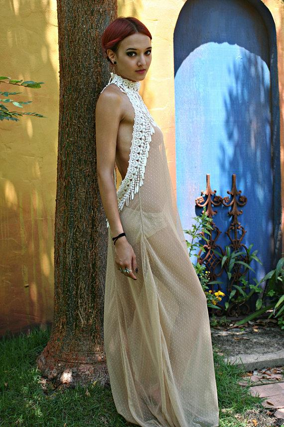 Свадьба - Bohemian Bridal Peacock Fringe Backless Nightgown Nude Sheer Mesh Lace Wedding Lingerie Honeymoon Sleepwear