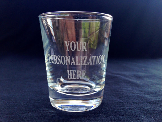 Hochzeit - Personalized Engraved Shot Glass - Customized for Wedding, Anniversary, Birthday, Bridesmaids, Groomsmen, Engaged, Holiday gift or Any Event