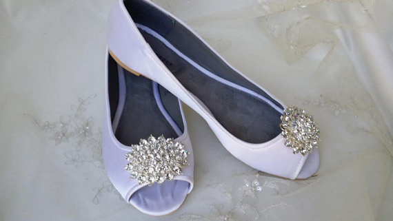 Hochzeit - Wedding Shoes Bridal Flats Ivory Ballet Flats or White Bridal Ballet Flats with Peep Toe Brooch Shoes