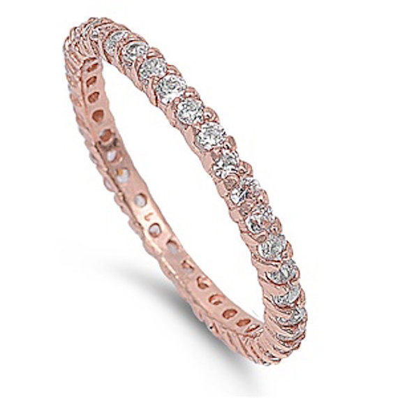 2MM Stackable Band Rhodium Rose Gold 925 Sterling Silver Russian