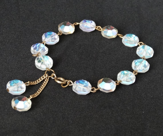 زفاف - Vintage Crystal Bead Bracelet Faceted Clear Crystals Gold Links Bolero Dangles Wedding Bridal Jewelry