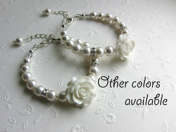 Wedding - SET of 2 Flower Girl gifts Swarovski Pearl Bracelets, Wedding Flower Girl Jewelry, Baby Toddler Girl White pearls and Rose