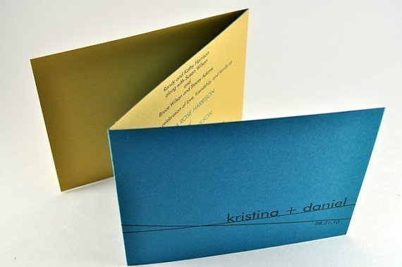 Hochzeit - Simple Modern Wedding Tri-fold Wedding Invitation in Teal and Gold SAMPLE - Unique wedding invite with RSVP postcard