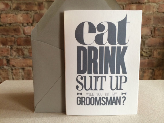Mariage - Groomsmen/Best Man Card - Eat, Drink, Suit Up