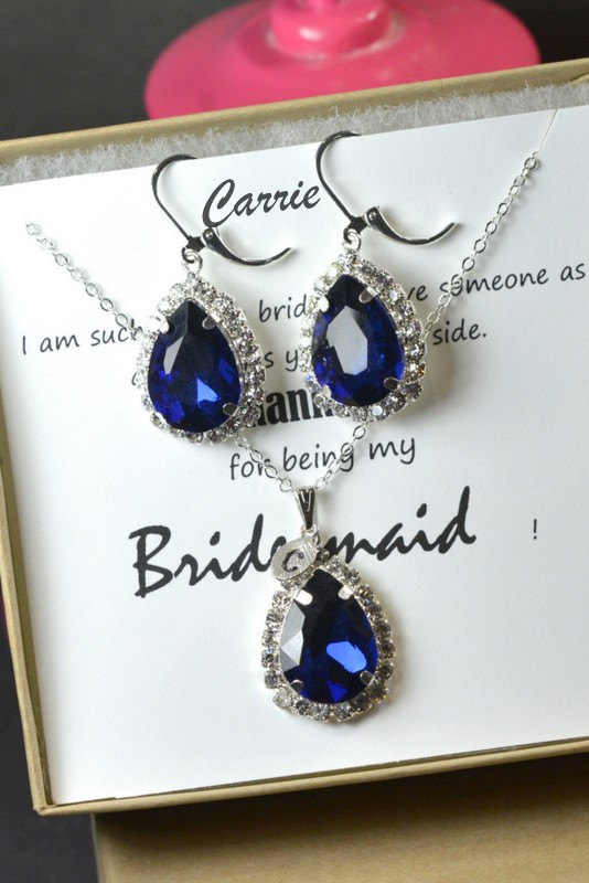 زفاف - Navy blue,sapphire blue Wedding Jewelry Bridesmaid Gift Bridesmaid Jewelry Bridal Jewelry tear Earrings & necklace SET,bridesmaid gift