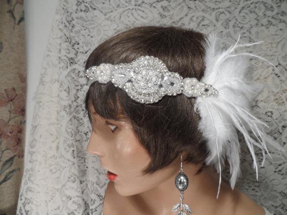 Mariage - GATSBY headpiece Gatsby headband bridal headpiece bridal headband hair accessories white 20's wedding headband wedding accessories flapper
