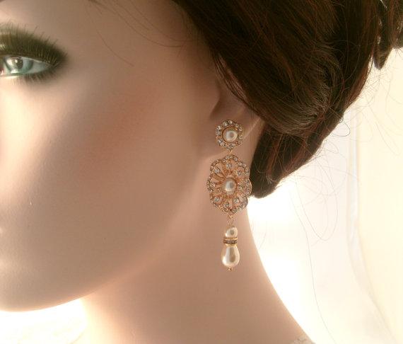 Свадьба - Rose gold dangle earrings-Rose gold bridal earrings-Rose gold art deco rhinestone Swaroski crystal  earrings - Wedding jewelry