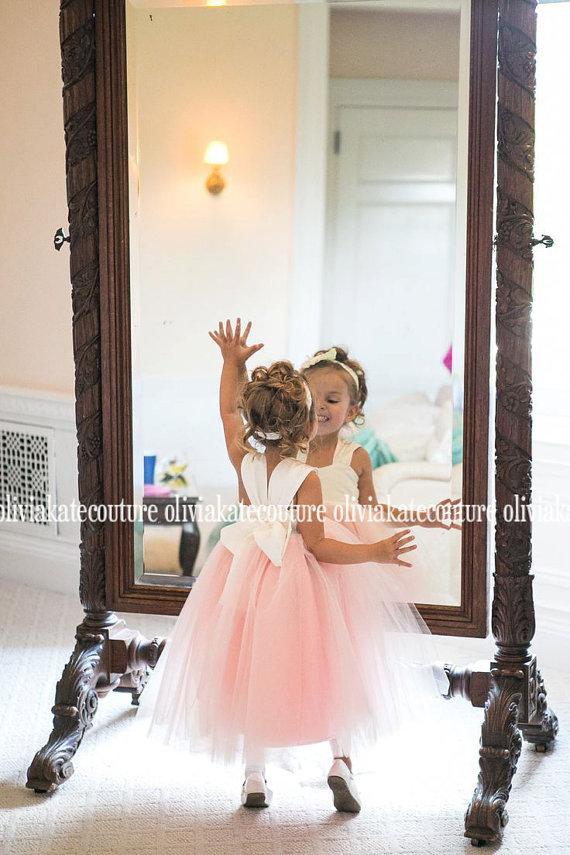 Wedding - Blush Peach Flower Girl Dress