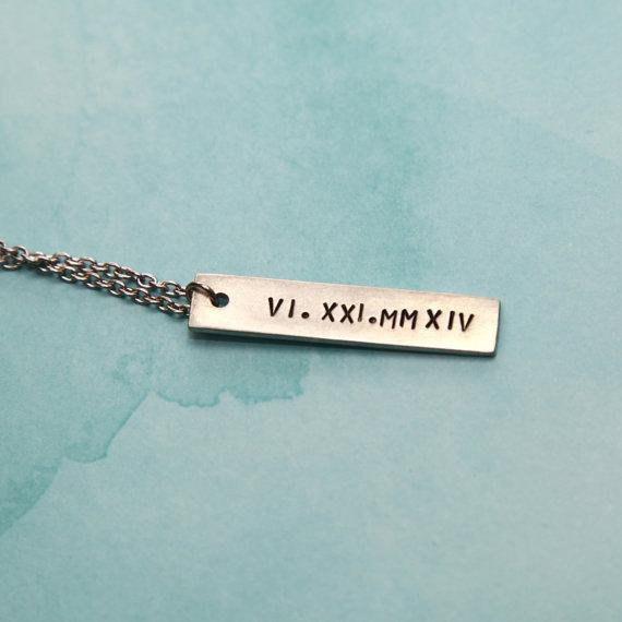 Wedding - Roman Numeral, Roman Numerals Necklace, Roman Numerals Jewelry, Roman Numbers Necklace, Roman Numbers Jewelry, Wedding Date Jewelry