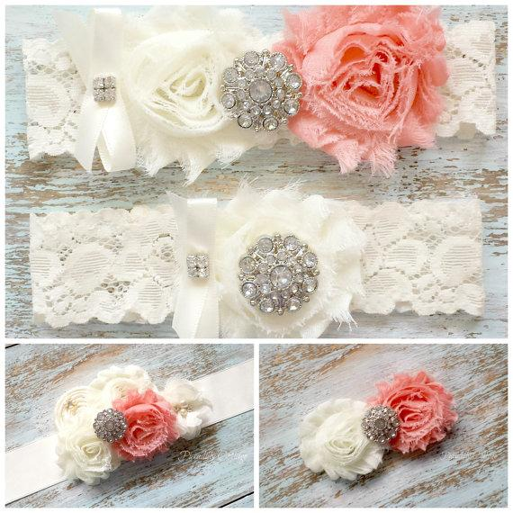 Mariage - Wedding Garter Set / Bridal Sash / Bridal Hair Clip / BRIDAL COMBO PACKAGE / Coral and Ivory / All three Items Included!