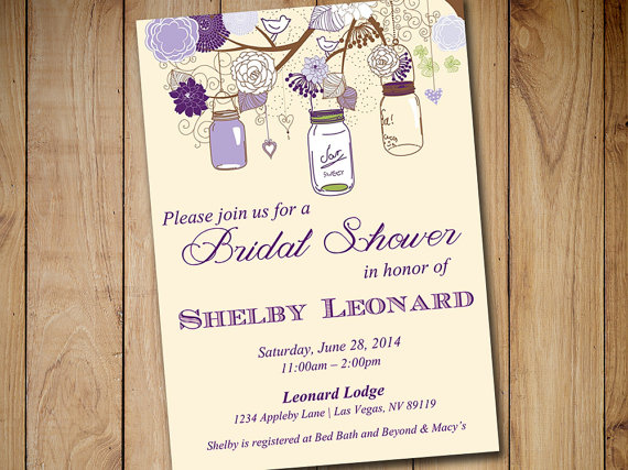 Wedding - Rustic Bridal Shower Invitation Template - Mason Jar Wedding Shower Template Eggplant Lavender Purple Green Ivory Shower Invitation Download