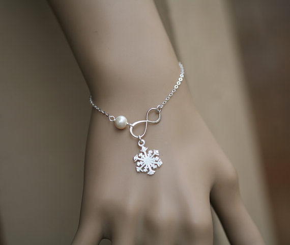Wedding - Snowflake bracelet,winter wedding,Best friends,snowflake and infinity,bridesmaid gifts,wedding bridal jewelry