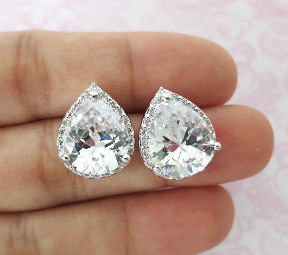 15 Off Set Of 10 Jarita Wedding Bridesmaid Gift Bridal Earrings Jewelry Clear White Luxe Cubic Zirconia Teardrop Ear Studs