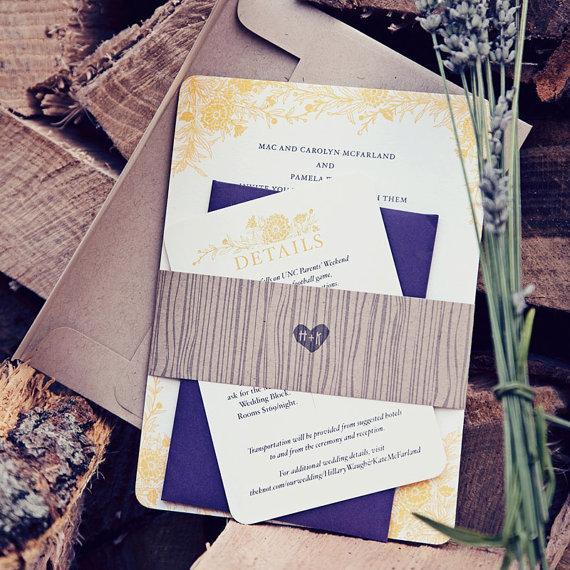 Boda - Wildflower Wedding Invitation, Rustic Wedding Invitation, Letterpress Wedding Invitation, Flower Wedding Invitation