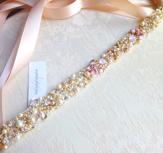 Свадьба - Ombre Blush Crystal Bridal Belt- Custom- Swarovski Crystal Bridal Sash- One-of-a-Kind Hand-Beaded -Vintage Glamour