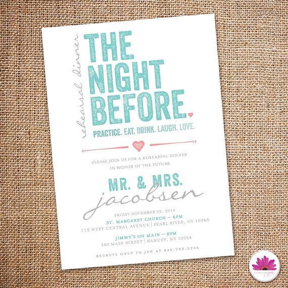Wedding - The Night Before - Rehearsal Dinner Invitation 5 X 7  (Digital file)
