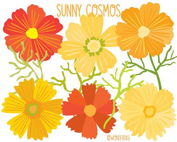 Flower Clip Art - Clipart Cosmos Flowers Bouquet- Floral ...