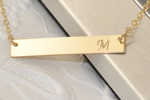 Свадьба - Personalized Gold Bar Necklace, Engraved Necklace, Contemporary Bridesmaid Jewelry, Initial Rectangle Necklace, Initial Charm Necklace