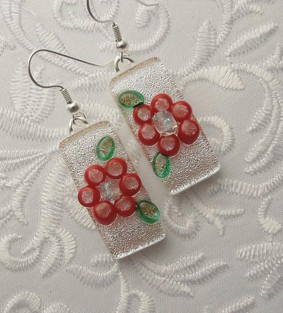 Wedding - Bridesmaid Gift - Fused Glass Earrings  - Dichroic Earrings - Flower Earrings - Bridal Earrings - Bridal Jewelry - Wedding Jewelry 2127