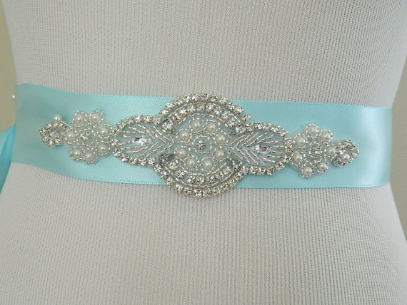 زفاف - Bridesmaid Sash Wedding Sash/Belt,Bridal Sash,Rhinestone Sash,Beaded Sash,-Ocean Blue Wedding Sash