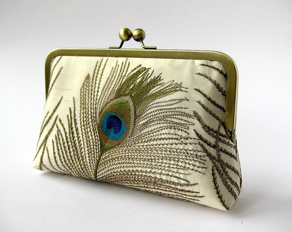 Silk Embroidered Peacock Clutch Bag In Ivory Bag Noir, Bridesmaid ...