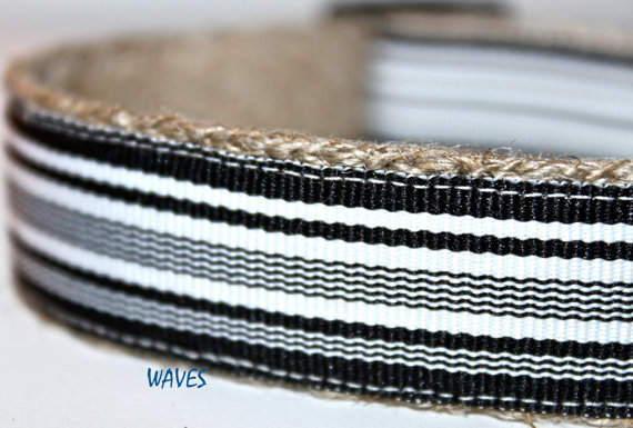 Mariage - Black & White Stripe Dog Collar / Wedding Dog Collar / Black Stripe Dog Collar / Adjustable Dog Collar / Pet Collars / Waves