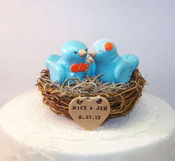 Bird Wedding Cake Topper Nest Lovebirds Aqua Light Teal And Orange Personalized Heart Customizable Birds