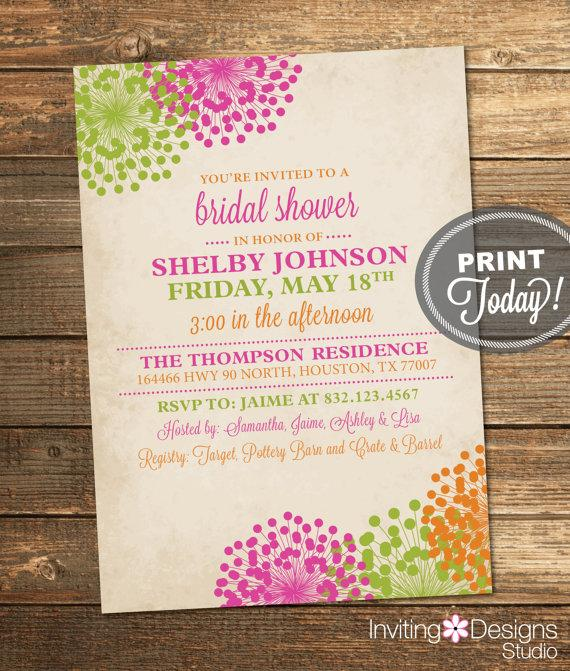 wedding shower invitation vintage bridal shower floral pink green orange spring summer printable custom order instant download