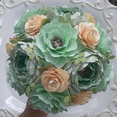 Paper Bouquet Paper Flower Bouquet Wedding Bouquet Mint And Ivory Custom Made Any