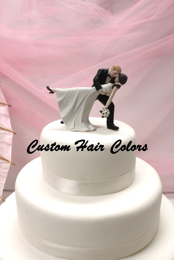 A Romantic Dip Dancing Couple Wedding Cake Topper