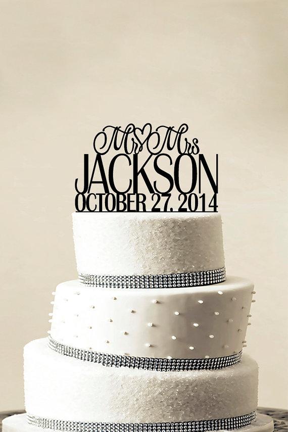 Wedding - Custom Wedding Cake Topper - Personalized Monogram Cake Topper - Mr and Mrs - Cake Decor - Bride and Groom