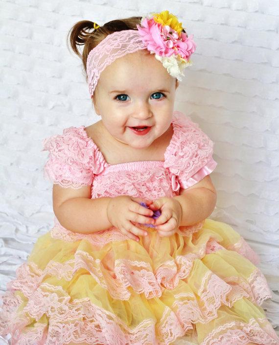 Pink Yellow Lace Baby Dress Headband SET Toddler Dress