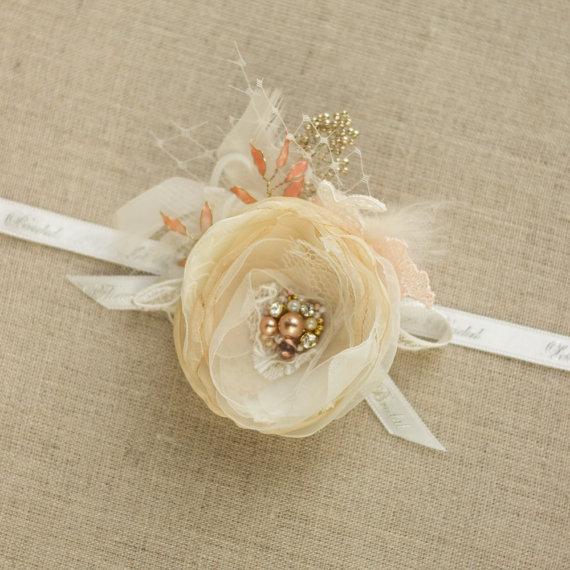 زفاف - Wedding hair flower Bridal hairpiece Bridal hair accessories Wedding headpiece bride headpiece lace hair Gold Champagne Ivory sand Blush