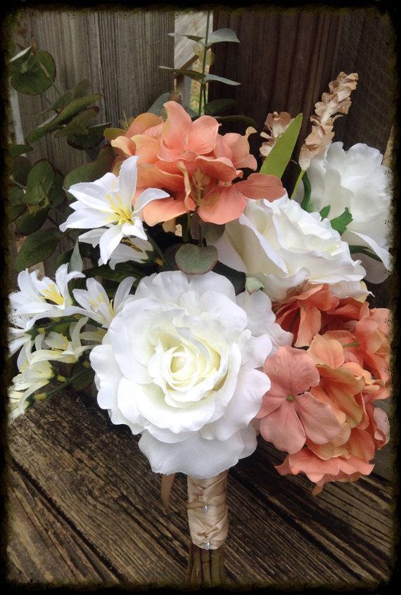 Mariage - Silk flower wedding bouquet. Silk bouquet. Bridal bouquet. YOUR COLORS. ivory bouquet. Blush bouquet. Peonies. Roses. Hydragena.